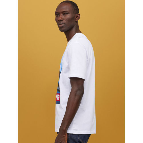 H&M Men White Printed T-shirt