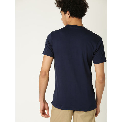 United Colors of Benetton Men Navy Blue Printed Round Neck T-shirt