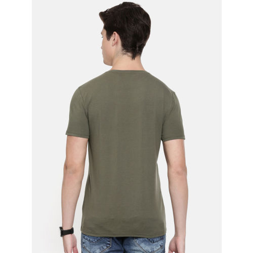 Calvin Klein Jeans Men Olive Green Printed Slim Fit Round Neck T-shirt