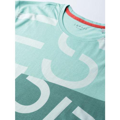 ESPRIT Men Turquoise Blue & Grey Printed Round Neck T-shirt