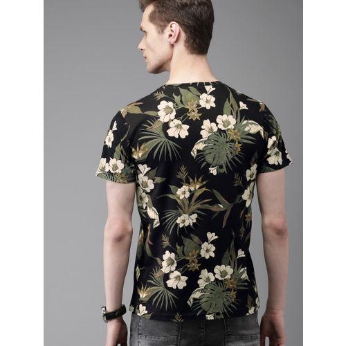 Moda Rapido Black Cotton Floral Round Neck T-shirt