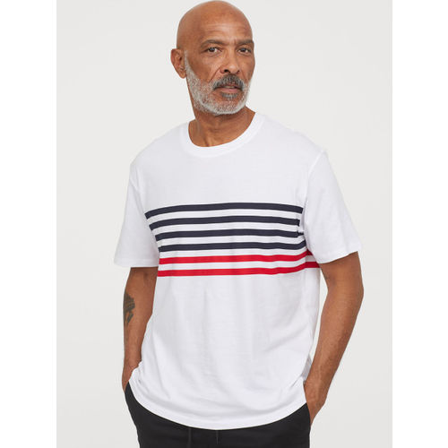 H&M Men White Striped Cotton T-shirt