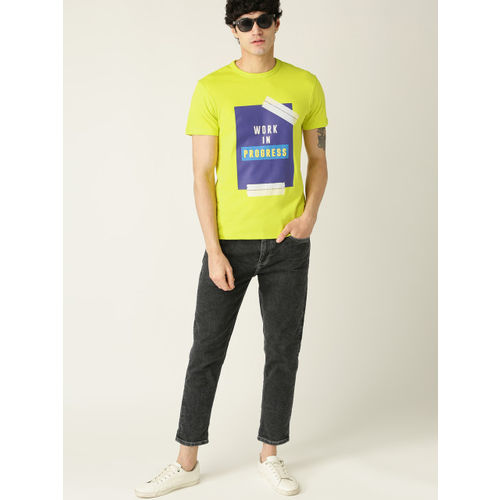 United Colors of Benetton Men Lime Green & Blue Printed Round Neck T-shirt