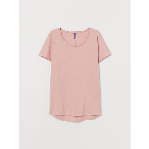 H&M Men Pink Raw-Edge T-shirt