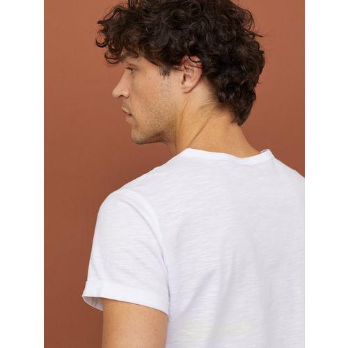 H&M Men White Solid Slub Jersey T-shirt