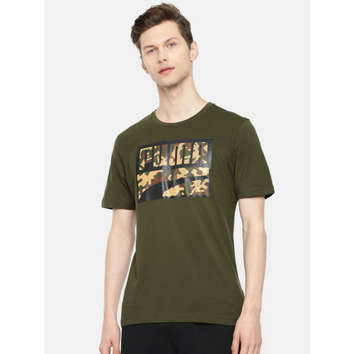 Puma Men Olive Green Printed Round Neck Rebel CAMO T-shirt