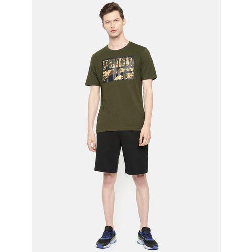 Puma Men Olive Green Printed Round Neck Rebel CAMO T-shirt