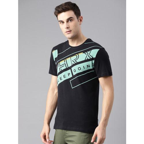 HRX by Hrithik Roshan Men Black Short Sleeve Printed Round Neck Lifestyle Tshirts