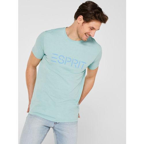 ESPRIT Men Sea Green Printed Detail Round Neck T-shirt