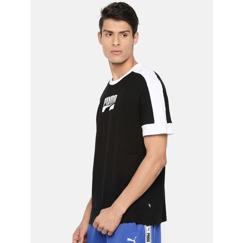 Puma Men Black & White Printed Round Neck Rebel Block T-shirt