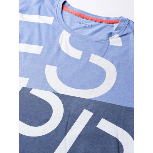 ESPRIT Men Blue Colourblocked Printed Round Neck T-shirt