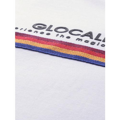 Mast & Harbour Men White Solid Round Neck T-shirt