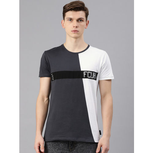 French Connection Men Charcoal Grey & White Colourblocked Round Neck T-shirt