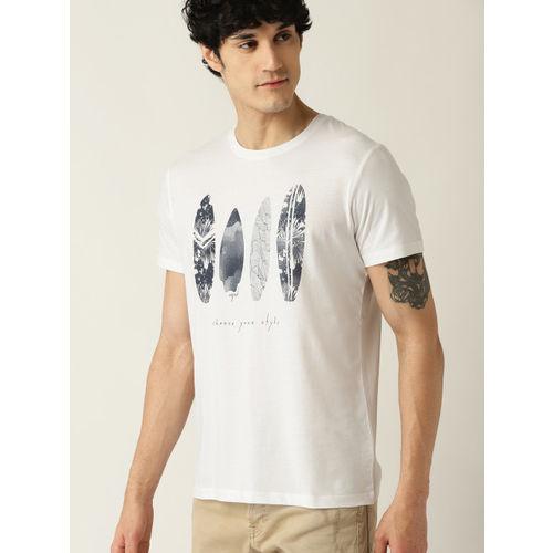 ESPRIT Men White & Navy Blue Printed Round Neck T-shirt