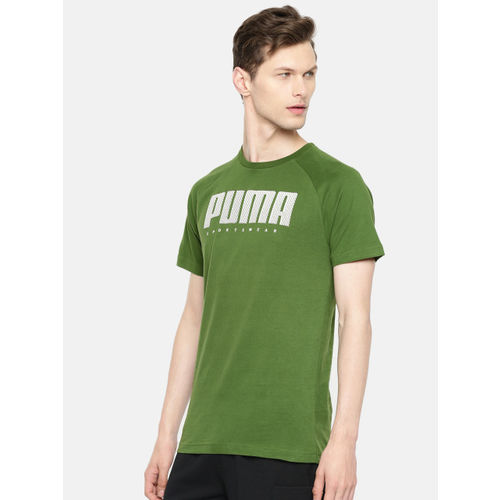 Puma Men Green & White Slim Fit Printed Round Neck Athletics T-shirt