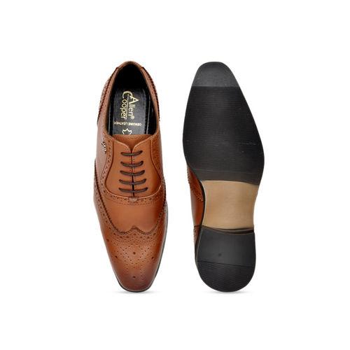 Allen Cooper Men Tan Brown Leather Formal Brogues