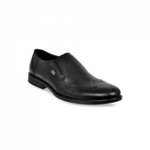 Allen Cooper Men Black Genuine Leather Formal Slip-On Shoes