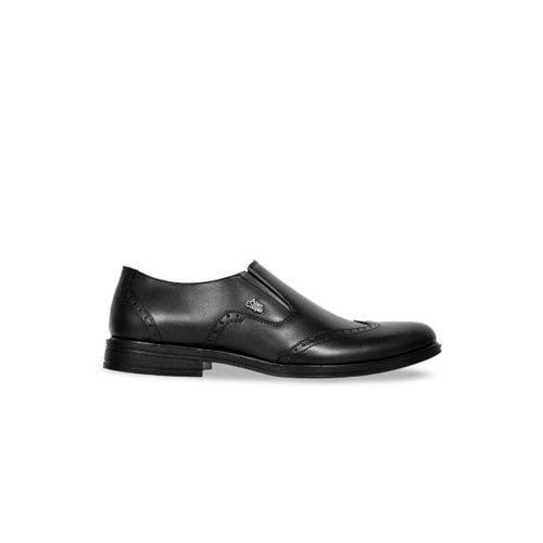 Allen Cooper Men Black Genuine Leather Formal Slip-On Shoes