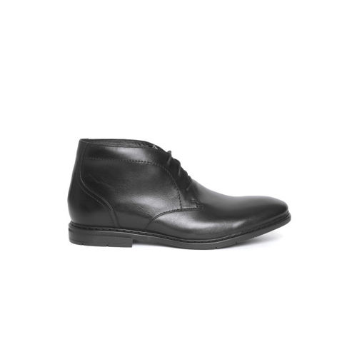 Clarks Men Black Solid Leather Semiformal Mid-Top Derbys