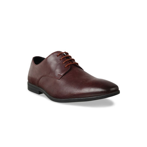 Clarks Men Brown Textured Leather Derby Formal Shoes