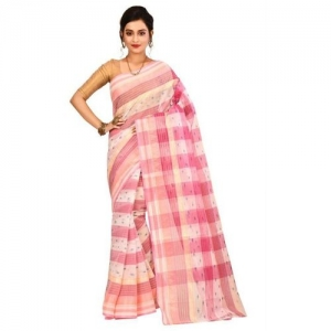 Aahiri Self Design Tant Pure Cotton Saree(Pink)