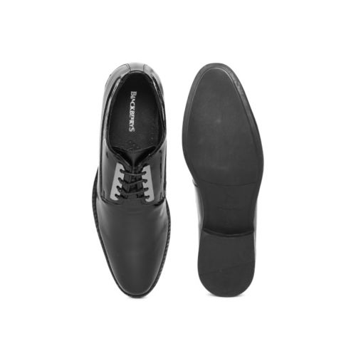 Blackberrys Men Black Glossy Textured Leather Derbys