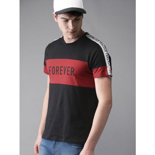 Moda Rapido Men Black & Red Colourblocked Round Neck T-shirt