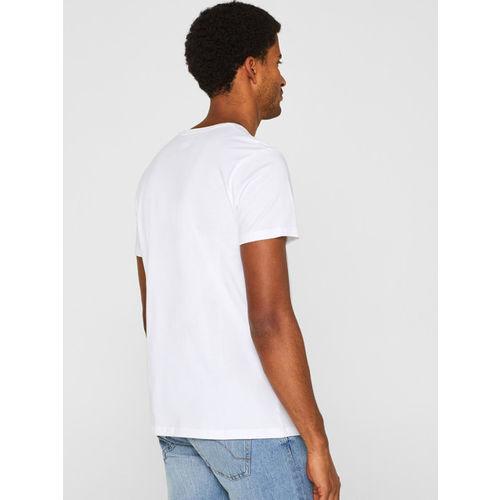 ESPRIT Men White & Blue Printed Round Neck T-shirt