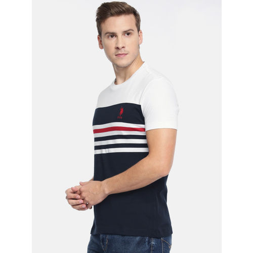 U.S. Polo Assn. Men White & Navy Blue Striped Slim Fit Round Neck T-shirt