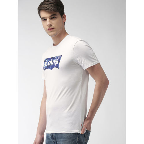 Levis Men White Printed Round Neck T-shirt
