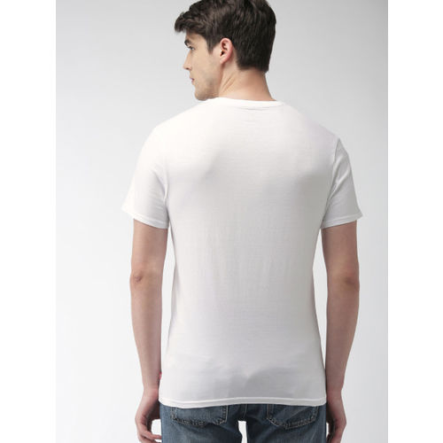 Levis Men White Printed Round Neck T-shirt