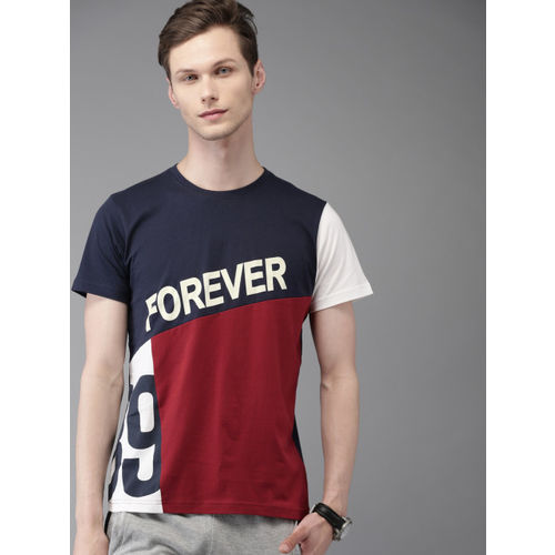 Moda Rapido Men Maroon & Navy Colourblocked Round Neck T-shirt