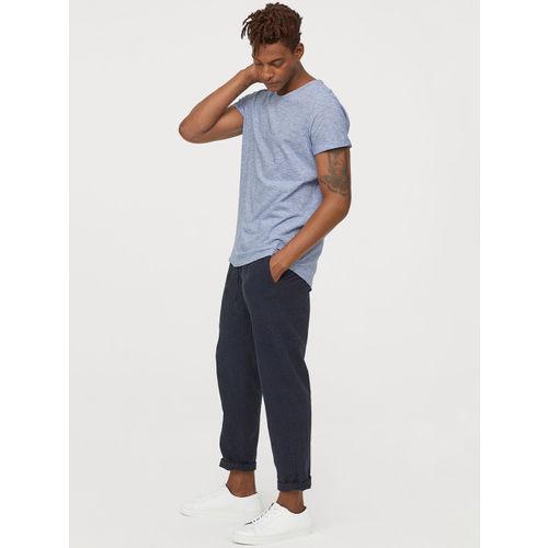 H&M Men Blue Solid Slub Jersey T-shirt