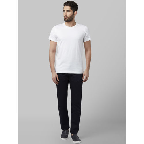 Park Avenue Men White Solid Round Neck T-shirt