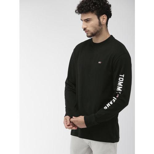 Tommy Hilfiger Men Black Printed Round Neck T-shirt