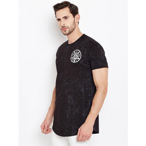 PUNK Men Black Printed Round Neck T-shirt