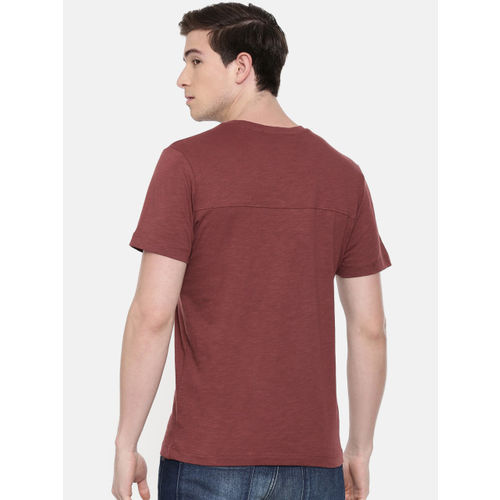 SELECTED Men Maroon Slim Fit Solid Round Neck T-shirt