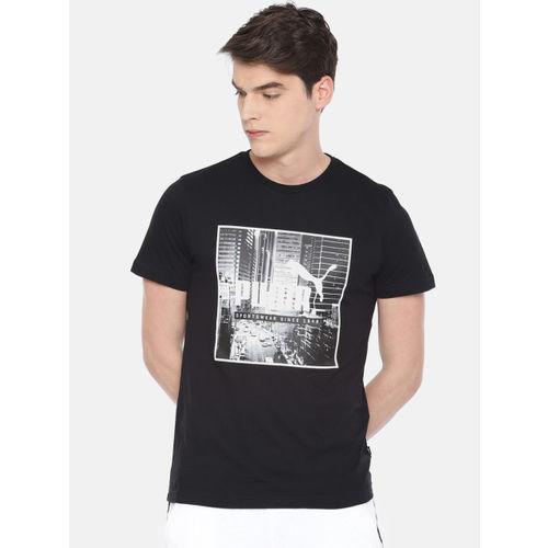 Puma Men Black Printed Round Neck T-shirt
