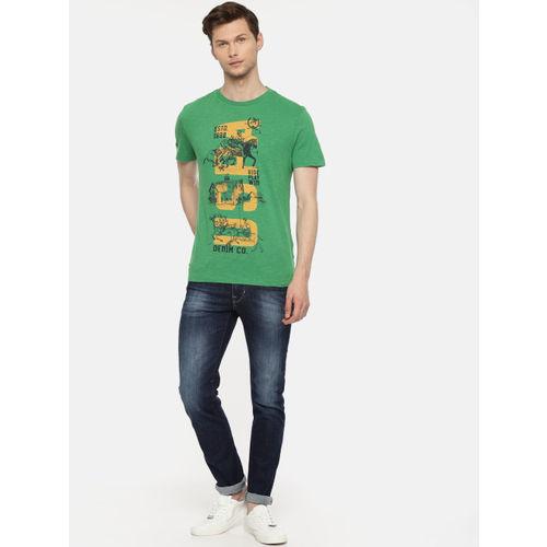 U.S. Polo Assn. Denim Co. Men Green Printed Round Neck T-shirt