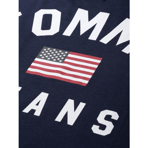 Tommy Hilfiger Men Navy Blue Printed Round Neck T-shirt