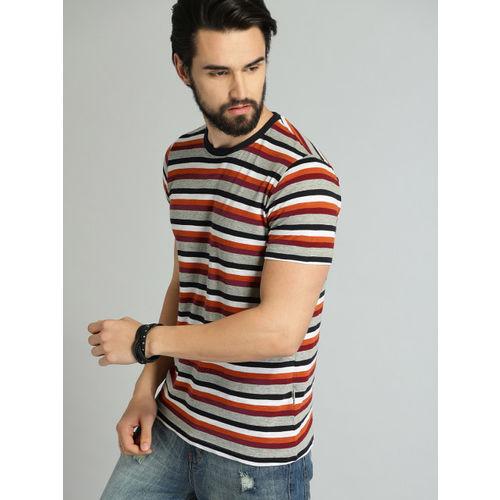 Roadster Men Grey & White Striped Round Neck T-shirt