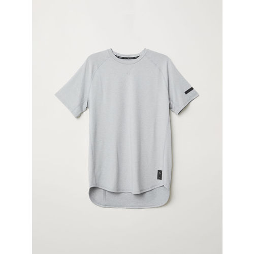 H&M Men Grey Solid Short-Sleeved Sports T-shirt