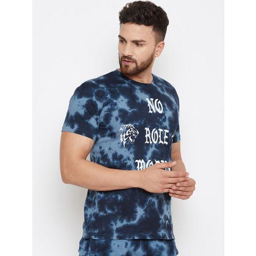 FUGAZEE Men Blue Printed Slim Fit Round Neck T-shirt