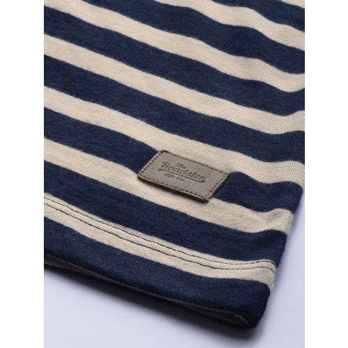 Roadster Men Off-White & Navy Blue Striped Round Neck T-shirt