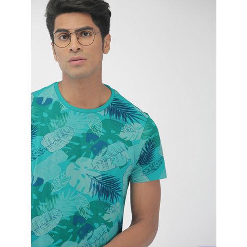 Indian Terrain Men Green Printed Round Neck T-shirt