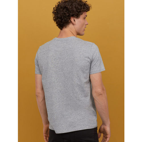 H&M Men Grey Printed T-shirt