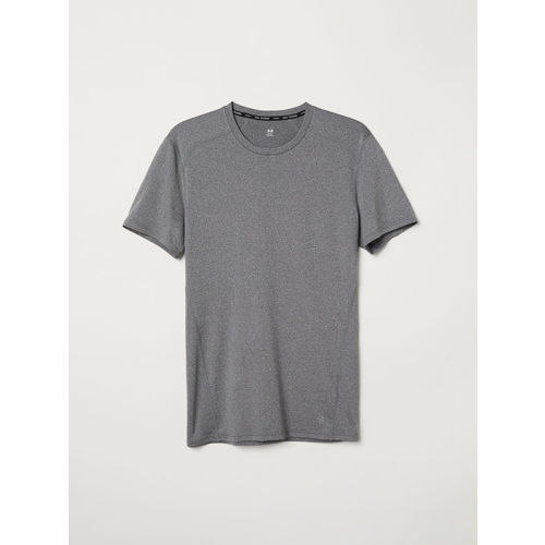 H&M Men Grey Solid Short-Sleeved Sports Top