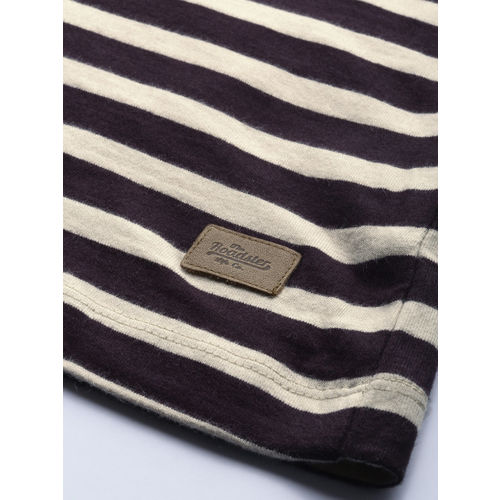 Roadster Men Off-White & Coffee Brown Striped Round Neck T-shirt
