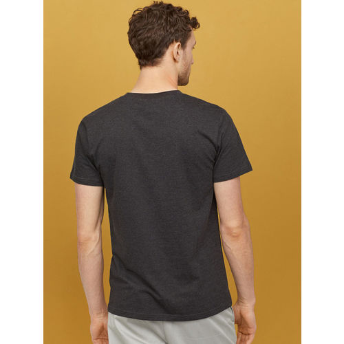 H&M Men Black Solid Cotton T-shirt Regular Fit