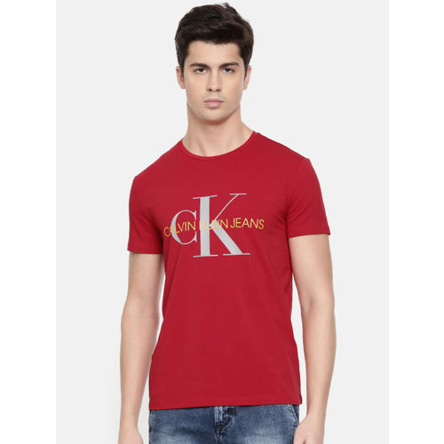 Calvin Klein Jeans Men Red Printed Slim Fit Round Neck T-shirt